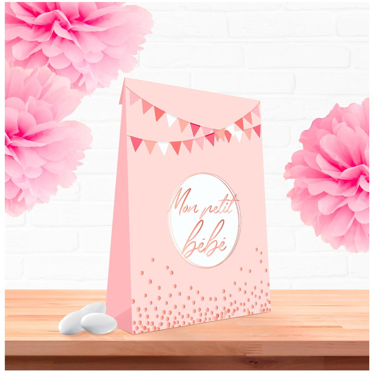 Pack de 6 pochettes cadeaux \'Baby Shower\' rose - 14x11x5 cm (Mon petit bébé) - [A0758]