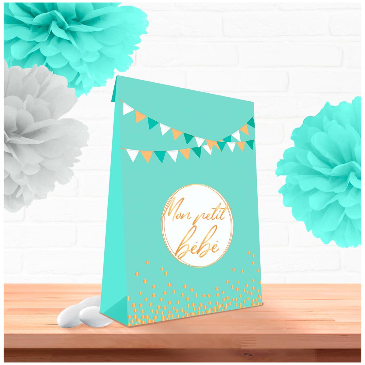 Pack de 6 pochettes cadeaux \'Baby Shower\' vert - 14x11x5 cm (Mon petit bébé) - [A0759]