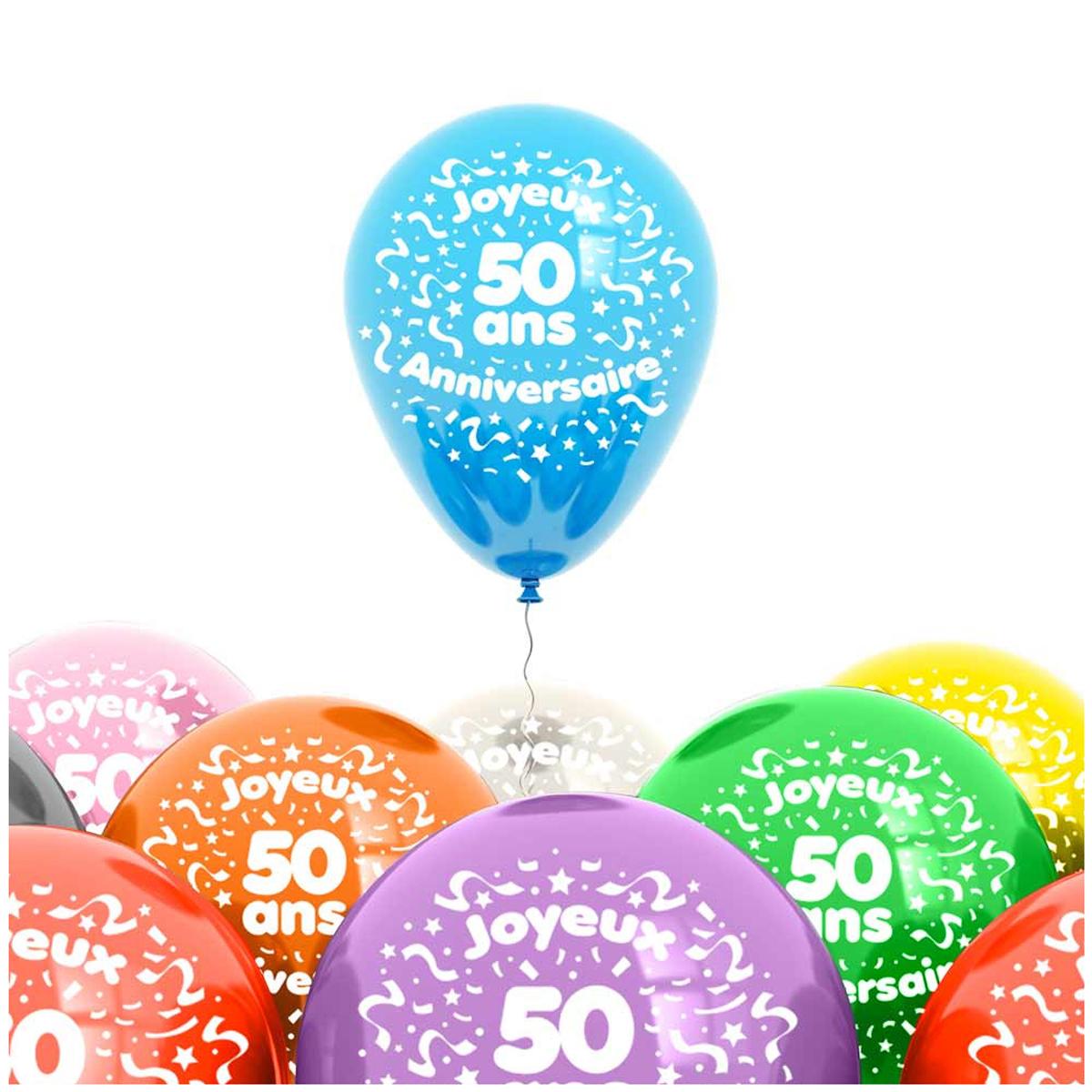 Sachet de 8 ballons \'50 ans\' - 30 cm - [L4189]