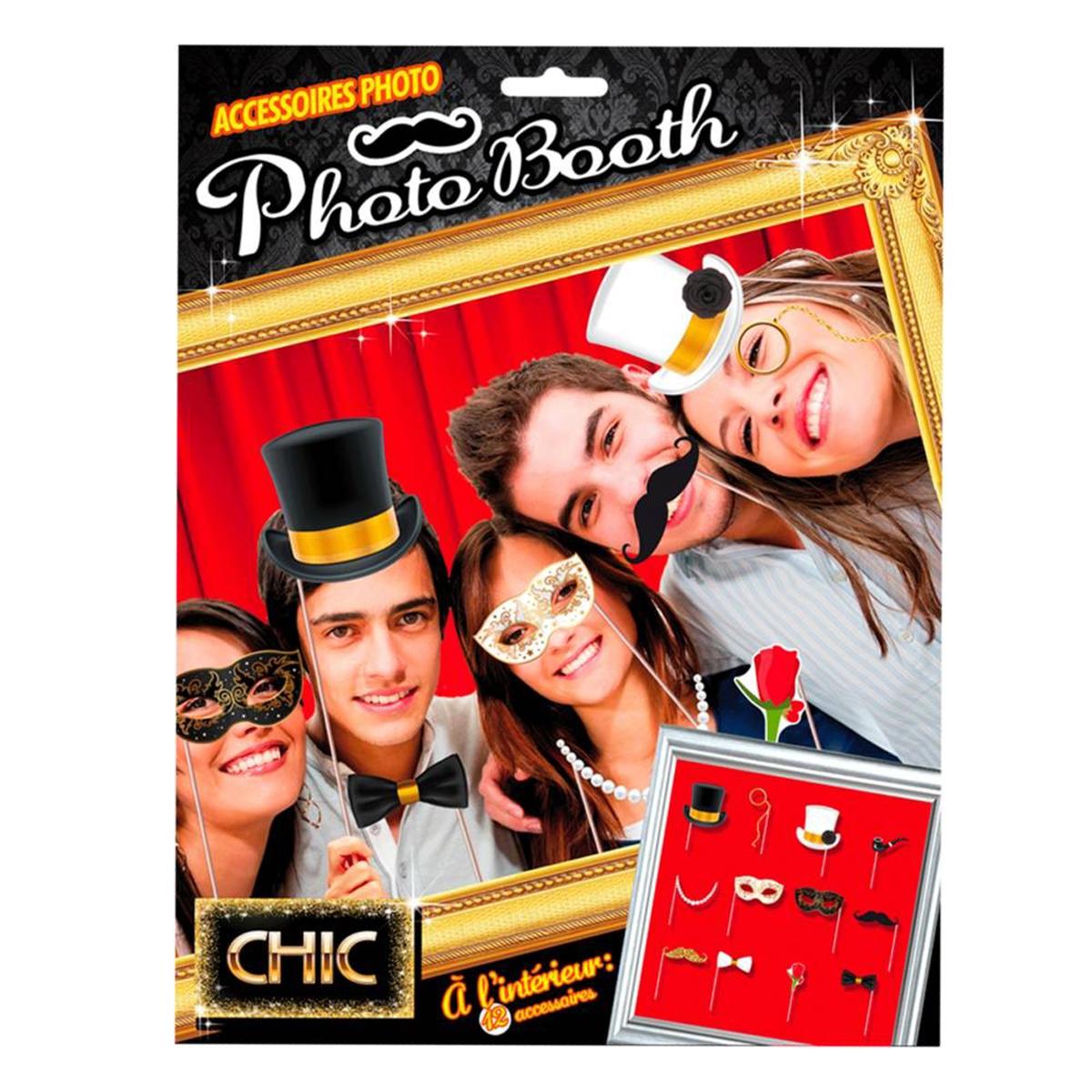 Accessoires photobooth \'Chic party\' noir doré blanc -12 pièces (masques chapeaux) - [P0275]