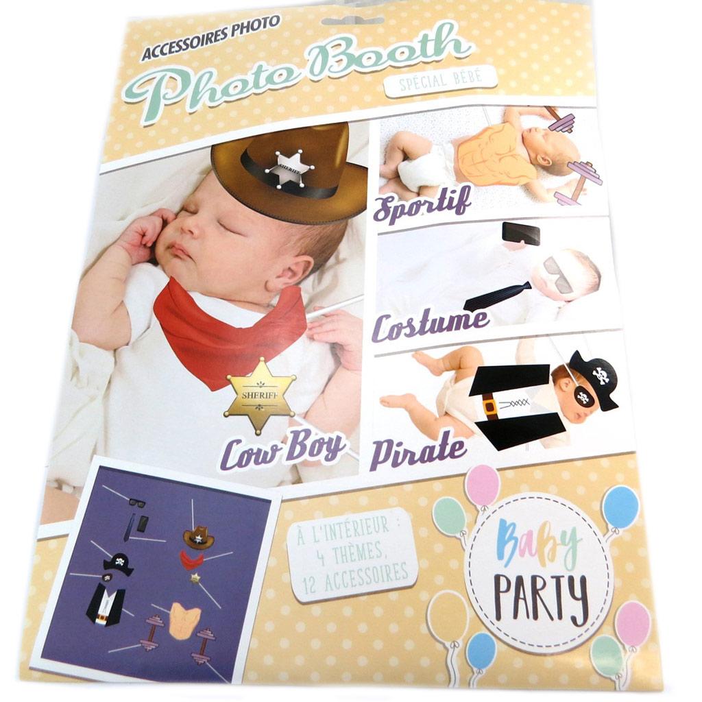 Accessoires photobooth \'Baby Shower\' - 12 pièces (Baby Party garçon) - [P3129]