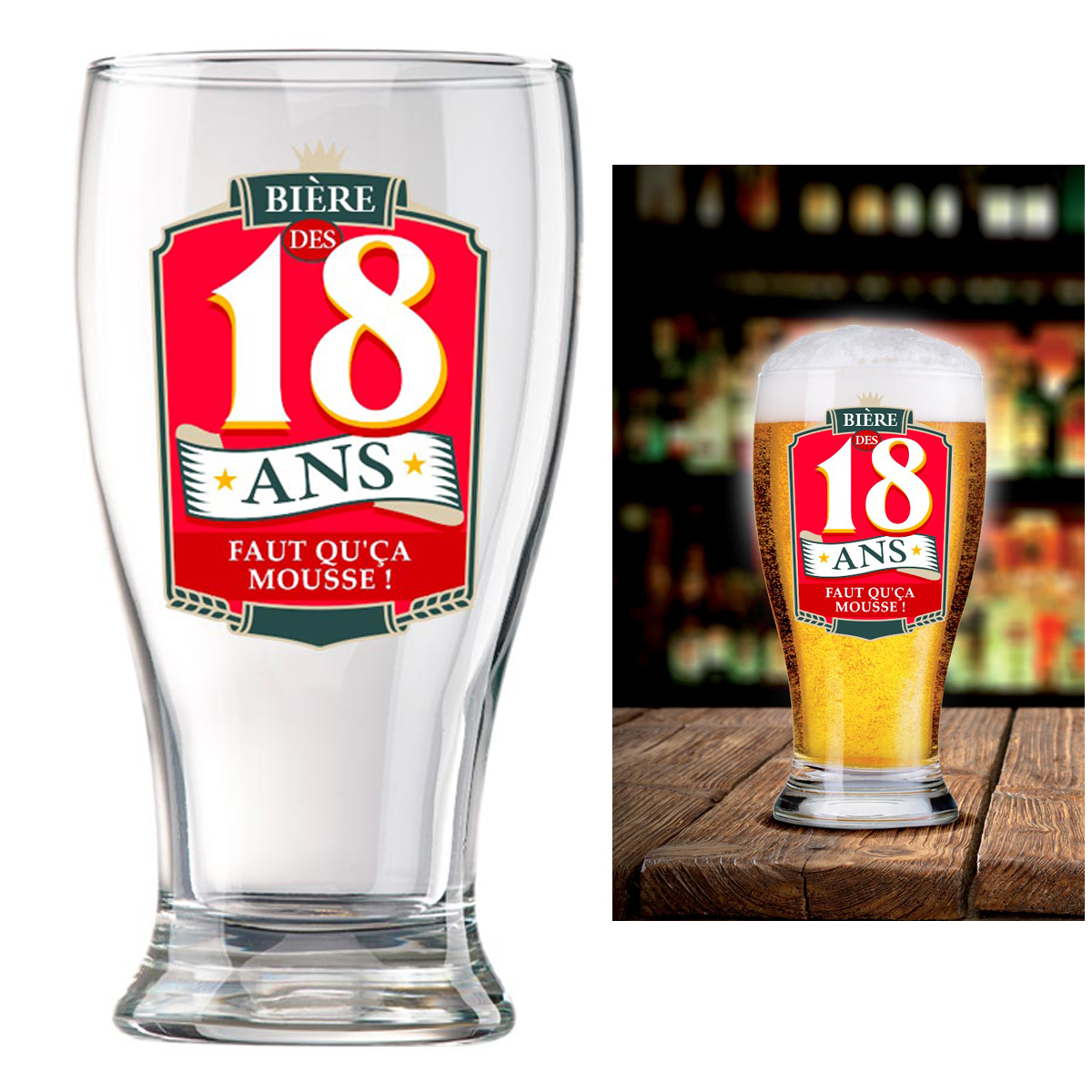Verre à bière \'18 ans\' (Faut qu\'ça mousse !)  - 16x8 cm - [P8541]