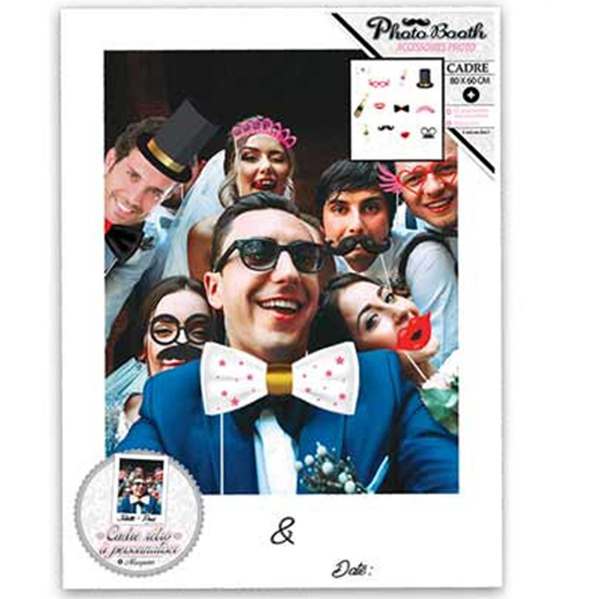 Cadre XXL + 12 accessoires photobooth \'Mariage\' - 80x60 cm - [Q0610]