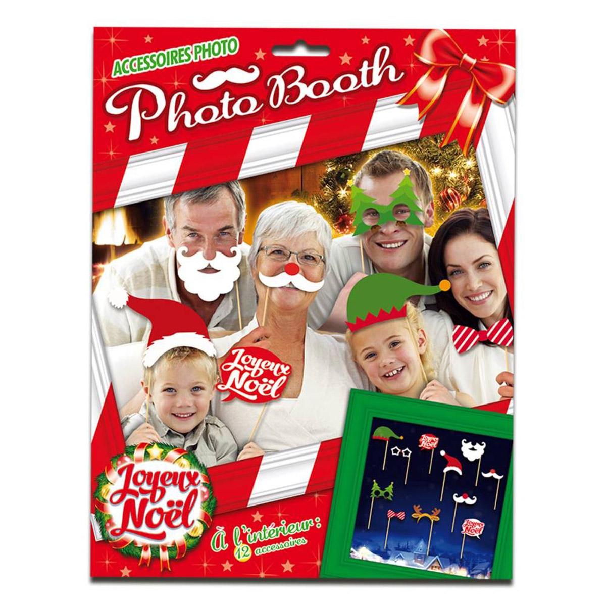 Accessoires photobooth \'Joyeux Noël\' - 12 pièces - [Q3514]