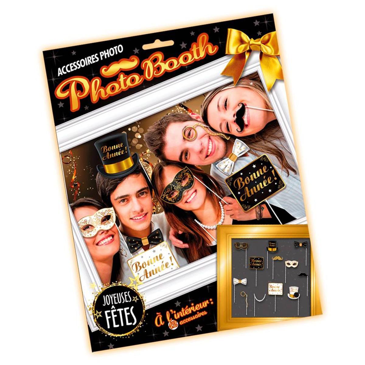 Accessoires photobooth \'Bonne Année\' noir doré - 12 pièces - [Q4556]