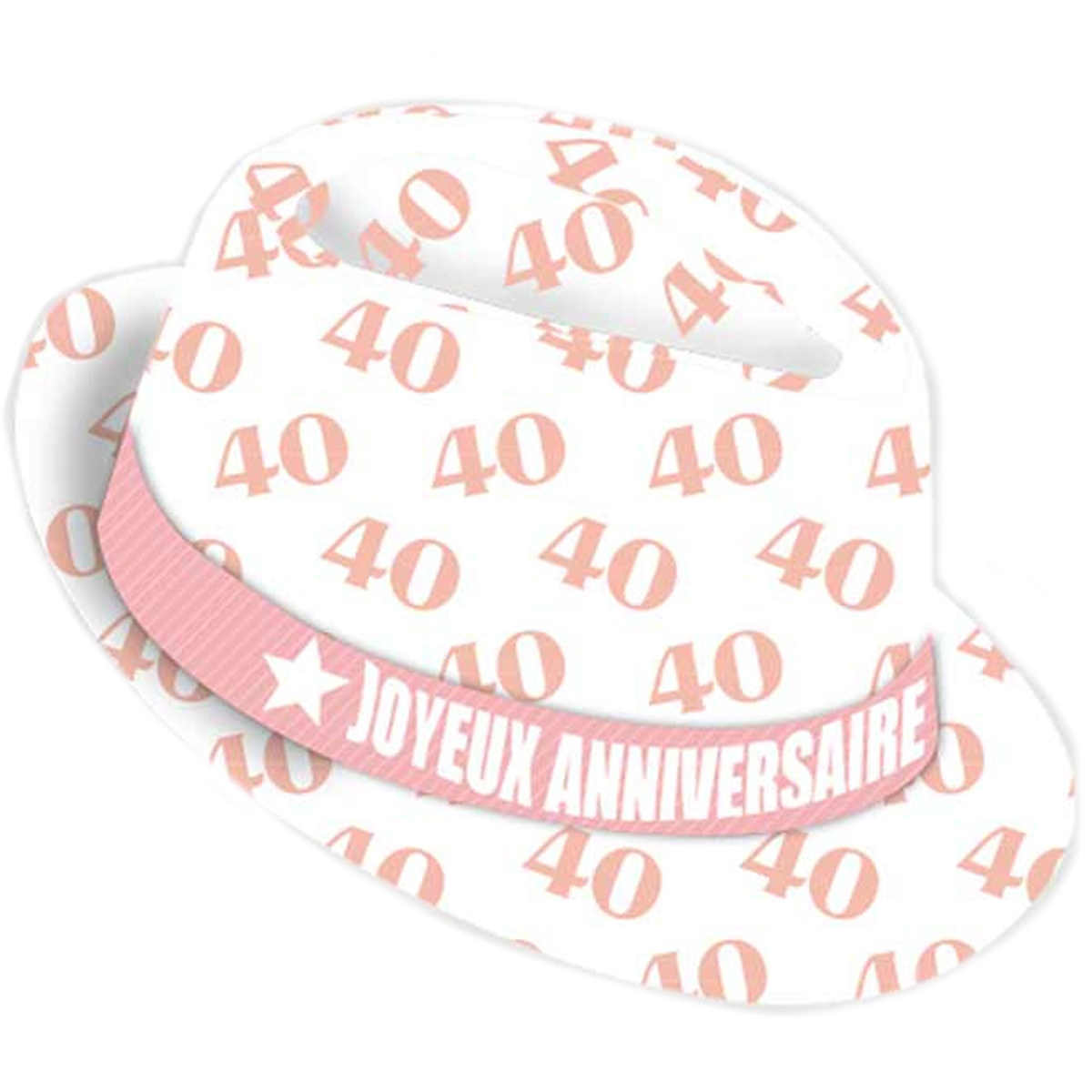 Chapeau anniversaire \'40 ans\' blanc rose - taille unique - [Q9080]