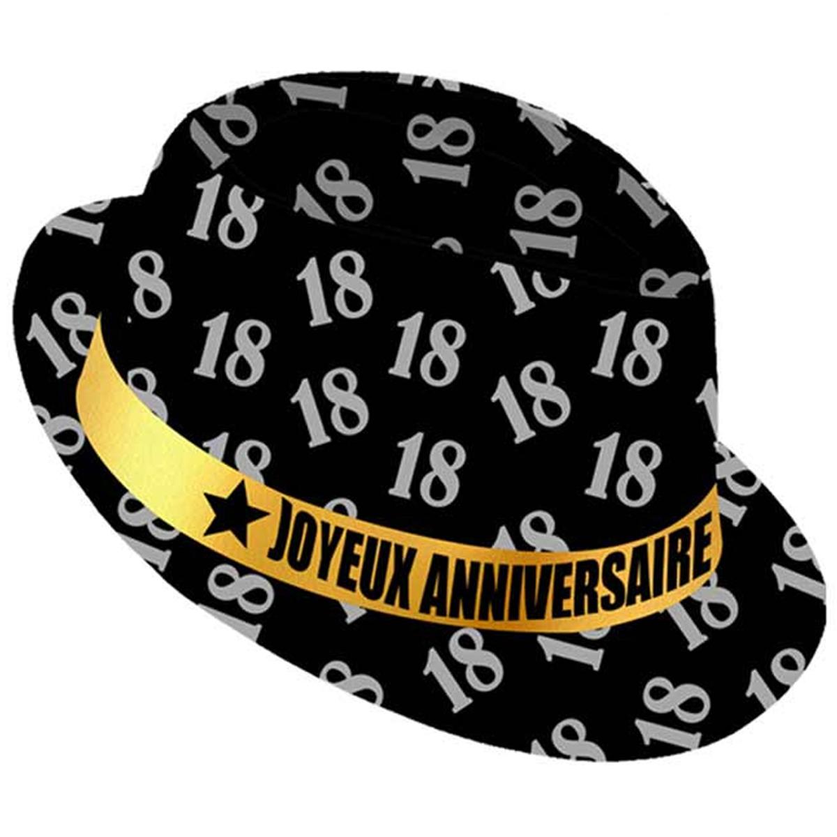 Chapeau anniversaire \'18 ans\' noir doré - taille unique - [Q9086]