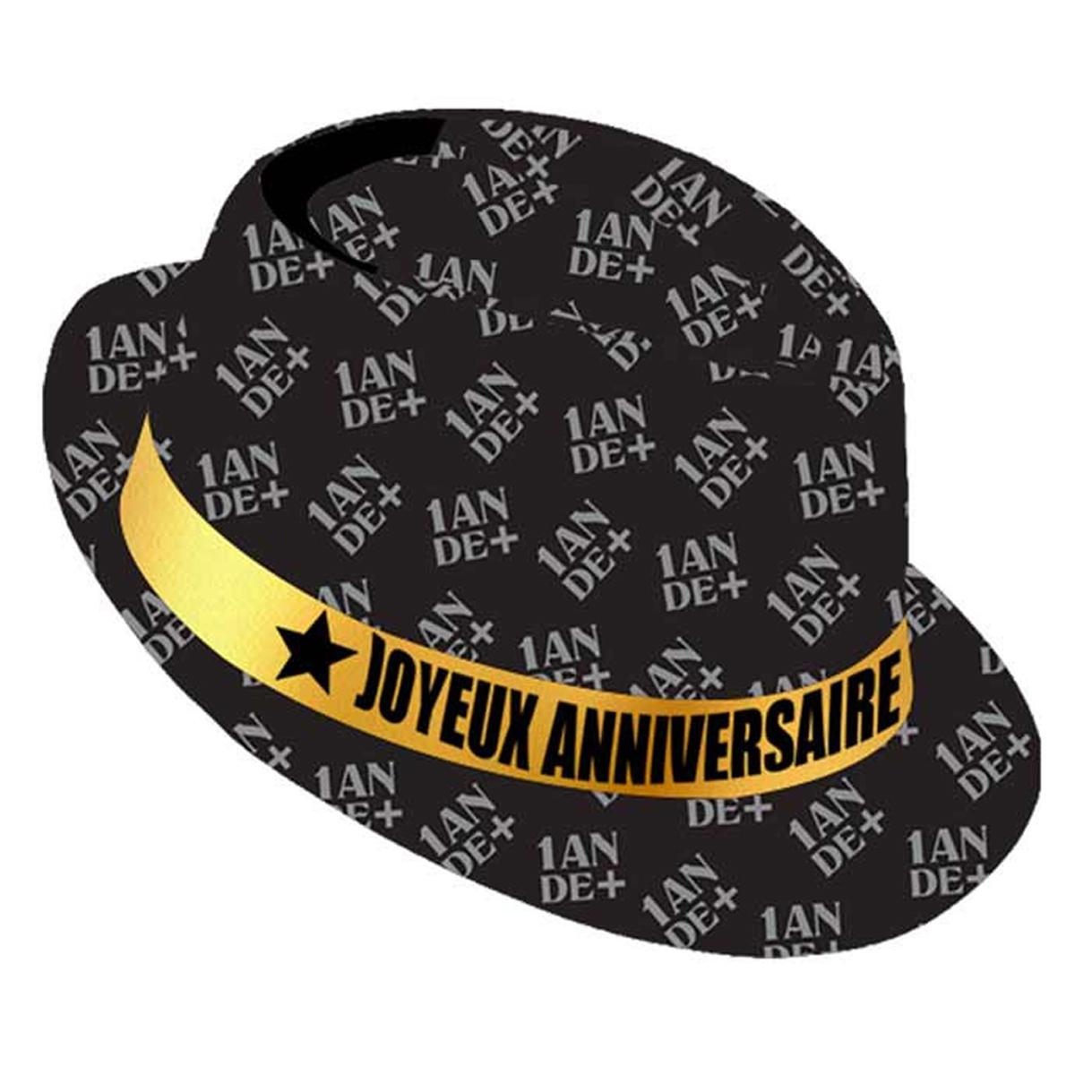 Chapeau anniversaire \'1 an de +\' noir doré - taille unique - [Q9092]