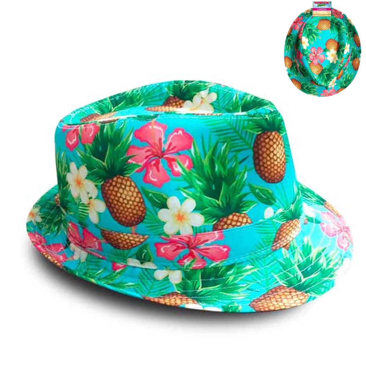 Chapeau borsalino \'Tropical\' multicolore (ananas vanille hibiscus) - taille unique - [R2736]