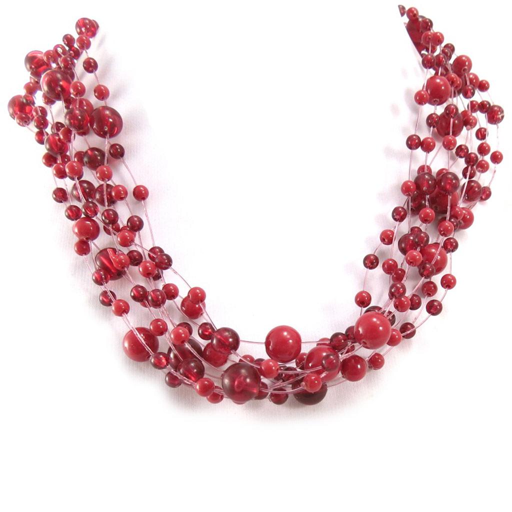 Collier \'Brume\' rouge - taille unique - [R3335]