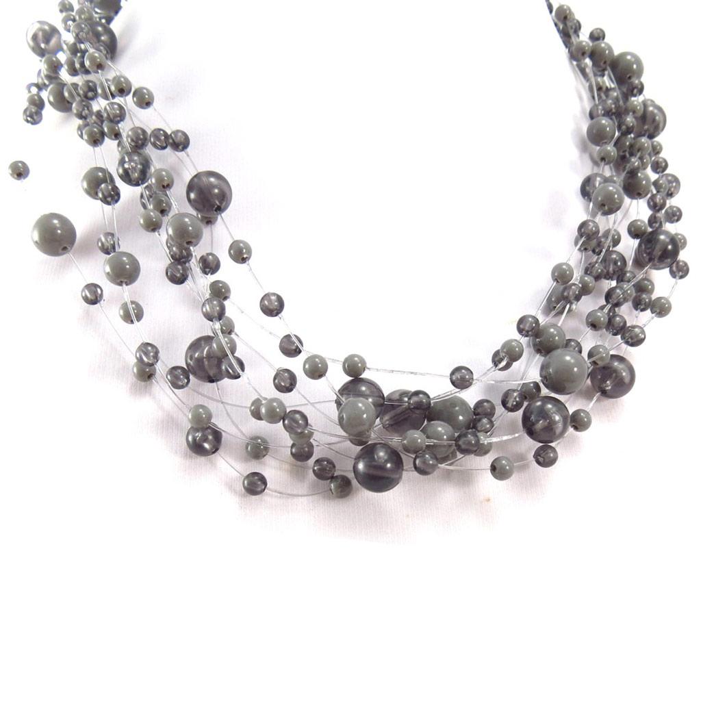 Collier \'Brume\' gris - taille unique - [R3337]