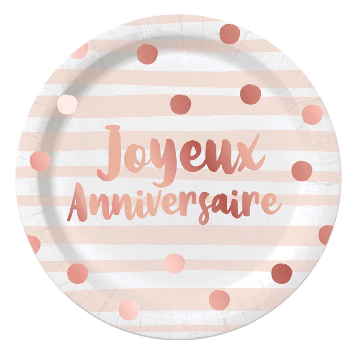 Pack de 6 assiettes \'Joyeux Anniversaire\' rosé (blush) - 23 cm - [A0761]