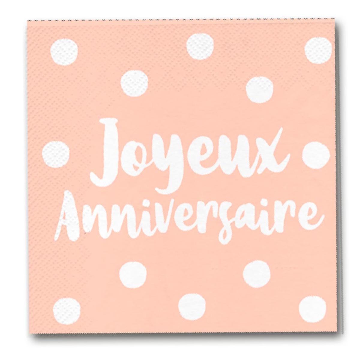 Pack de 12 serviettes en papier \'Joyeux Anniversaire\' rosé (blush) - 165x165 cm - [A0763]