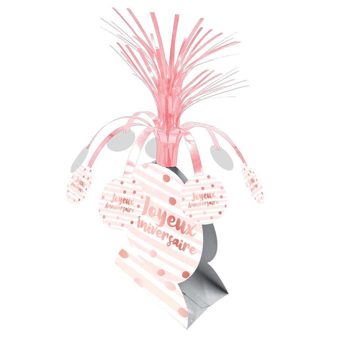 Centre de table \'Joyeux Anniversaire\' blanc rosé - 26x30 cm - [A0764]