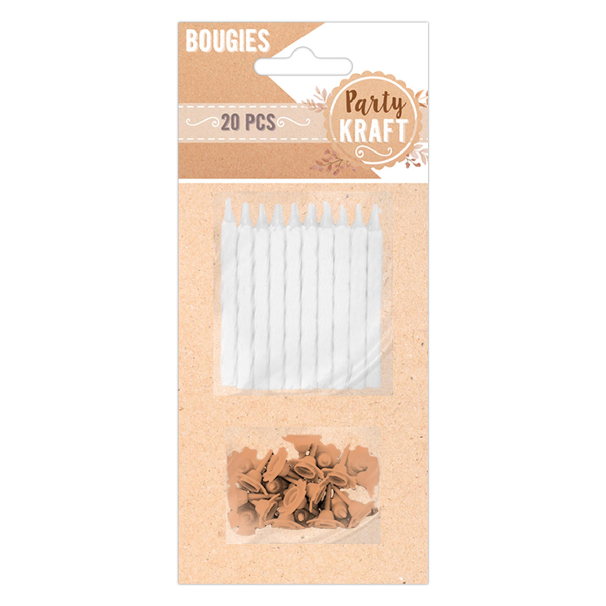 20 bougies \'Party Kraft\' blanc - 5 cm - [A0768]