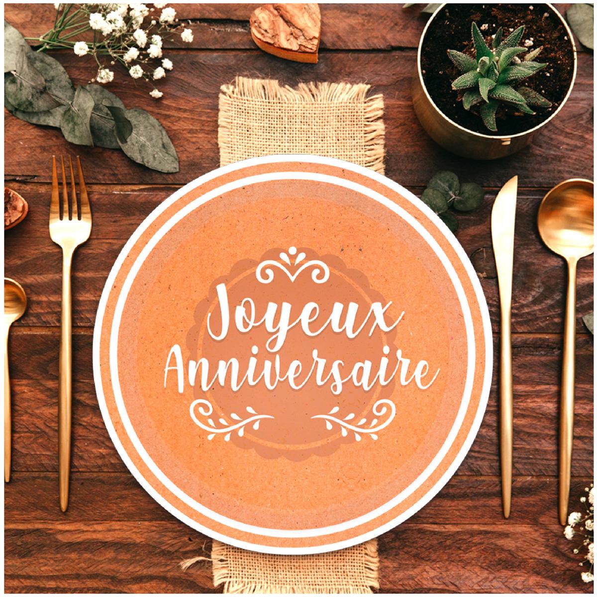 Pack de 6 assiettes \'Joyeux Anniversaire\' marron kraft - 23 cm - [A0770]