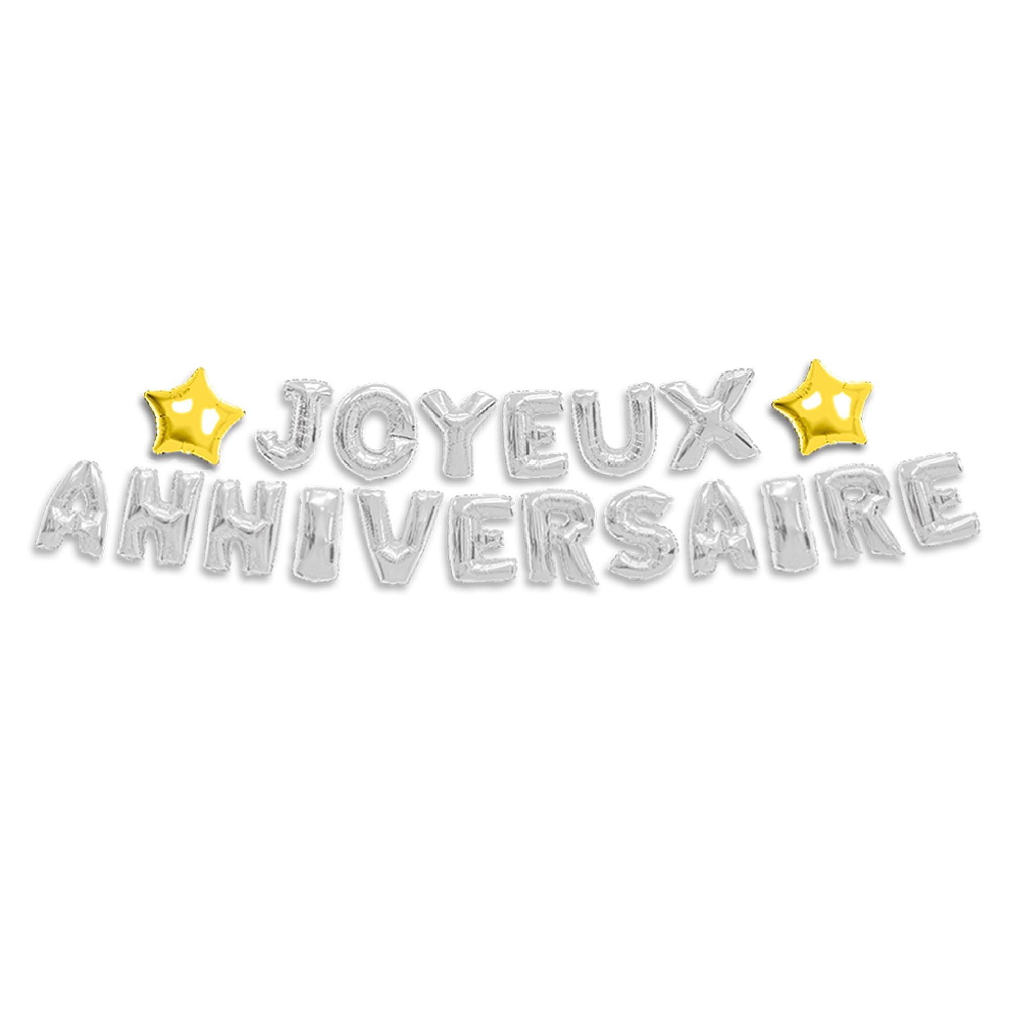 Guirlande de ballons métalliques \'Joyeux Anniversaire\' argenté - 6 m 40 cm - [P8768]