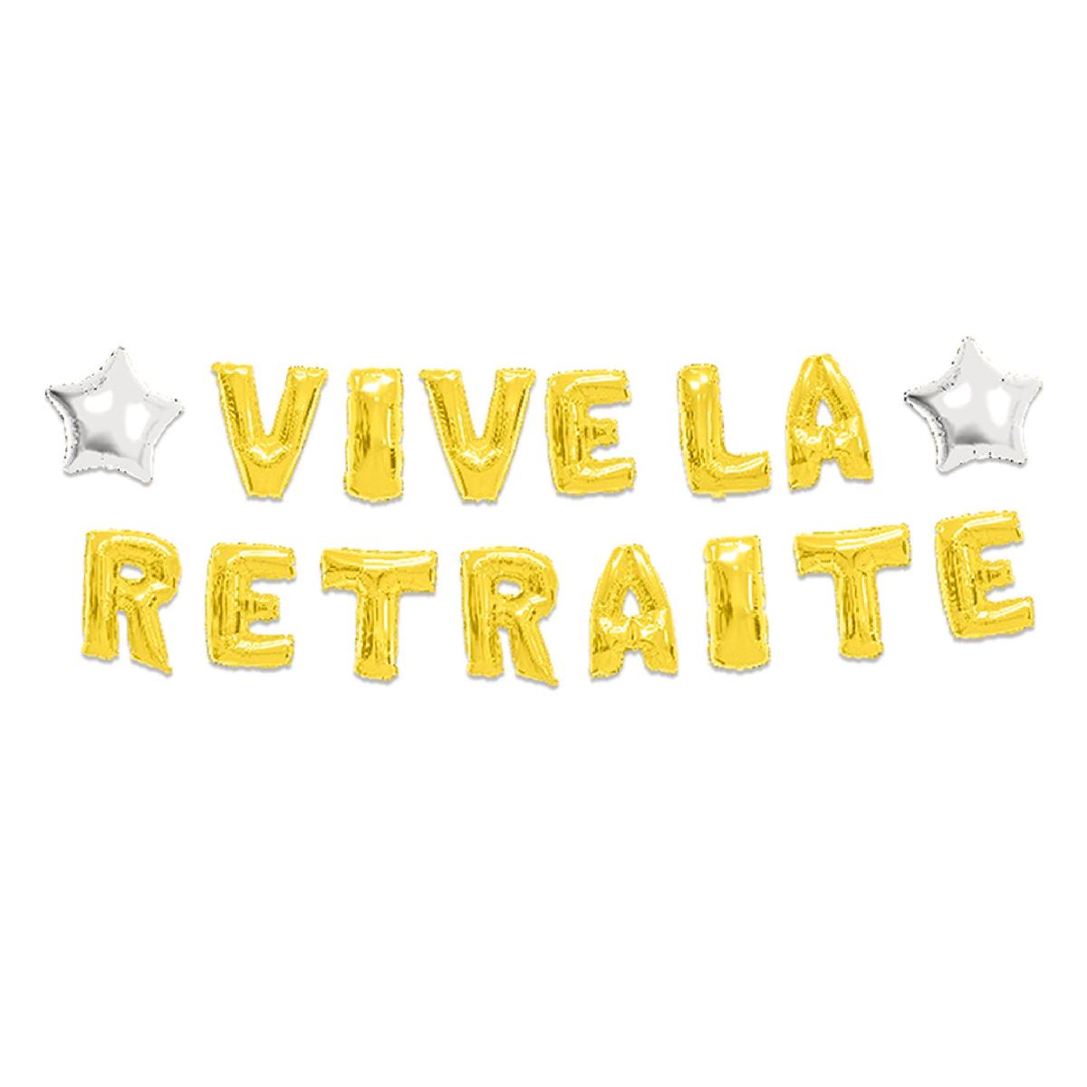 Guirlande de ballons métalliques \'Vive la Retraite\' doré - 6 m 40 cm - [P8769]