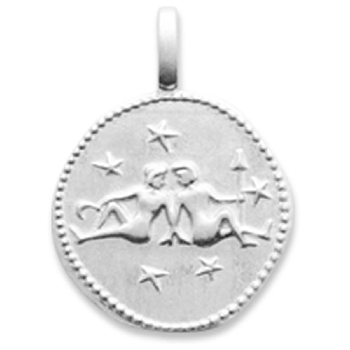 Pendentif Argent \'Gémeaux\' argenté (rhodié) - 16 mm - [Q8187]