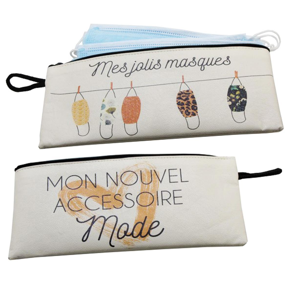 Pochette masques \'Mes Jolis Masques\' - 21x10 cm - [A0479]