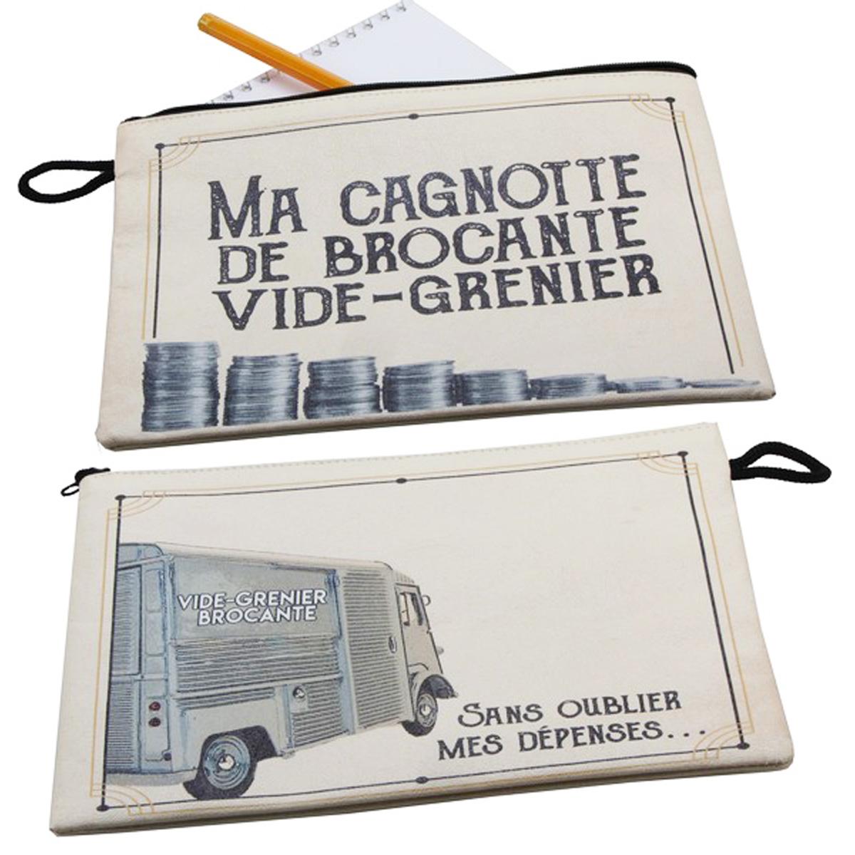 Pochette plate \'Ma Cagnotte Brocante Vide-Grenier\' gris - 21x16 cm - [A0480]