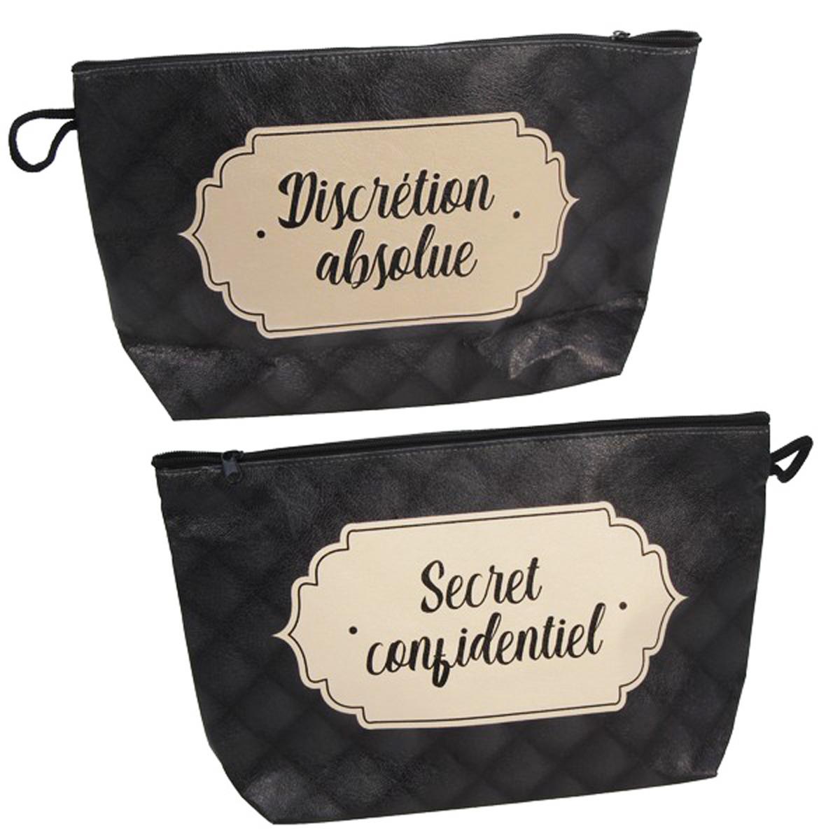 Pochette créateur \'Discrétion Absolue, Secret Confidentiel\' noir beige - 27x16x8 cm - [A0483]