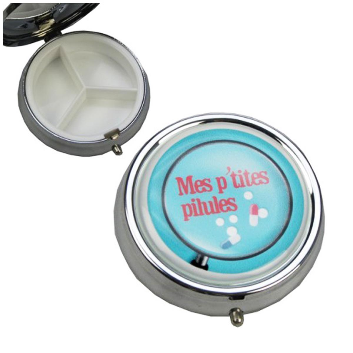 Boite à Pilules \'Mes p\'tites pilules\' bleu - 5x15 cm - [A0777]