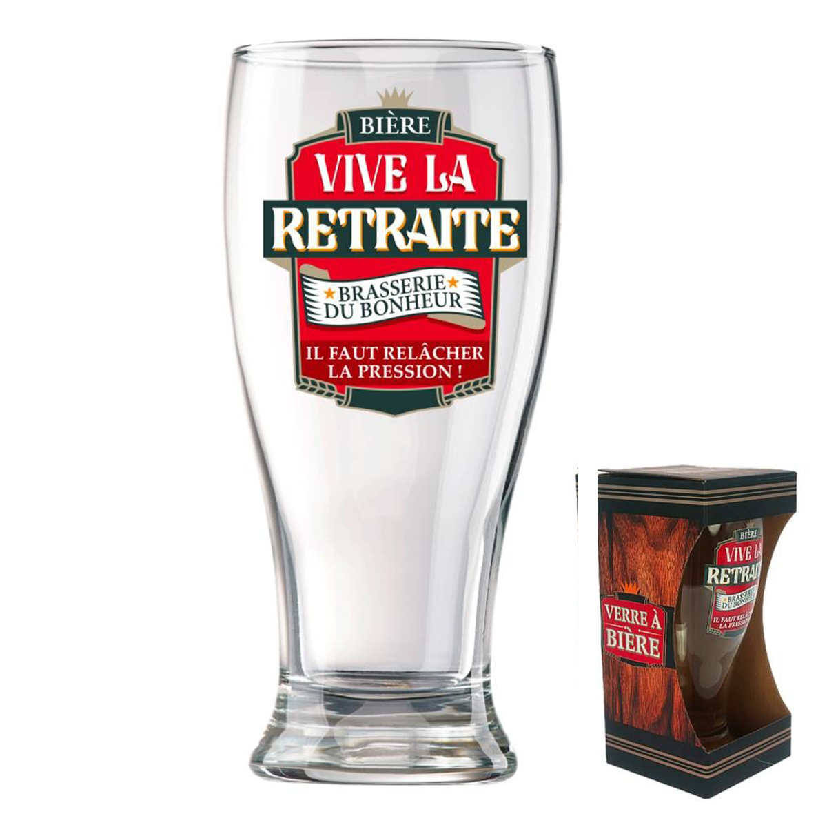 Verre à bière \'Vive la Retraite\' (Brasserie du bonheur - il faut relacher la pression !)  - 16x8 cm - [P8547]