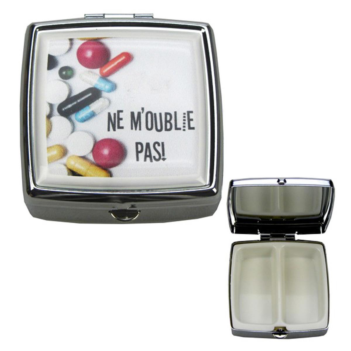 Boite à Pilules carrée \'Ne m\'oublie pas !\' rouge blanc - 5x5x18 cm - [R3608]