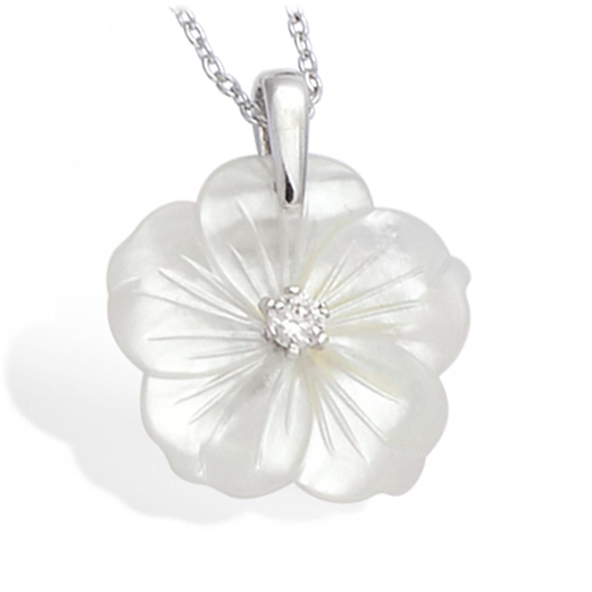 Pendentif argent \'Fleur de Sagesse\' nacre blanc argenté (rhodié) - 20 mm - [L1782]