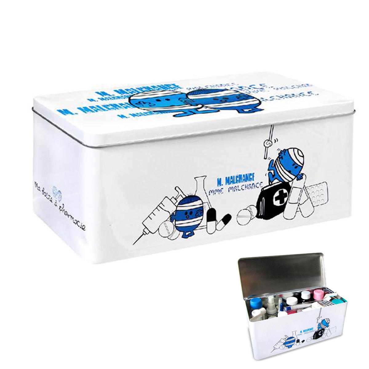 Boite à pharmacie \'Monsieur Madame\' blanc bleu (M Malchance) - 28x12x11 cm - [L8915]