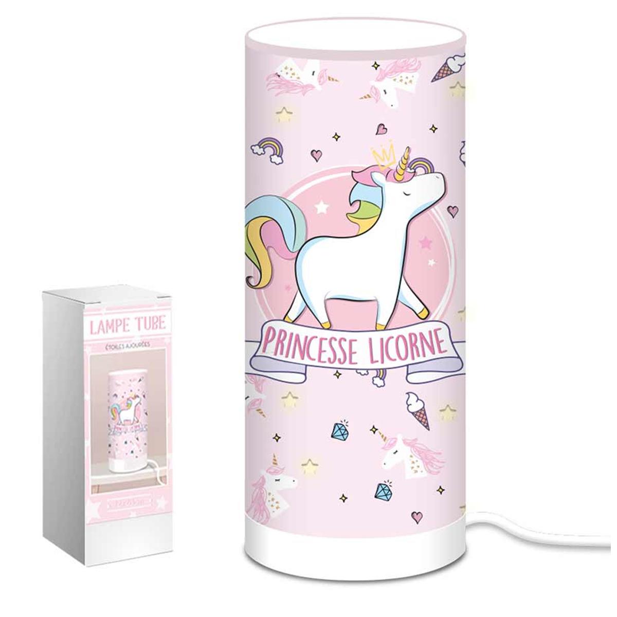 Lampe tube \'Licorne My Unicorn\' rose (Princesse Licorne)  - 28x12 cm - [Q9058]