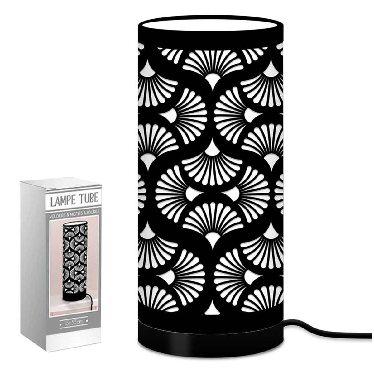 Lampe tube tissu \'Boho\' noir (ginkgo biloba) - 33x15 cm - [Q9073]