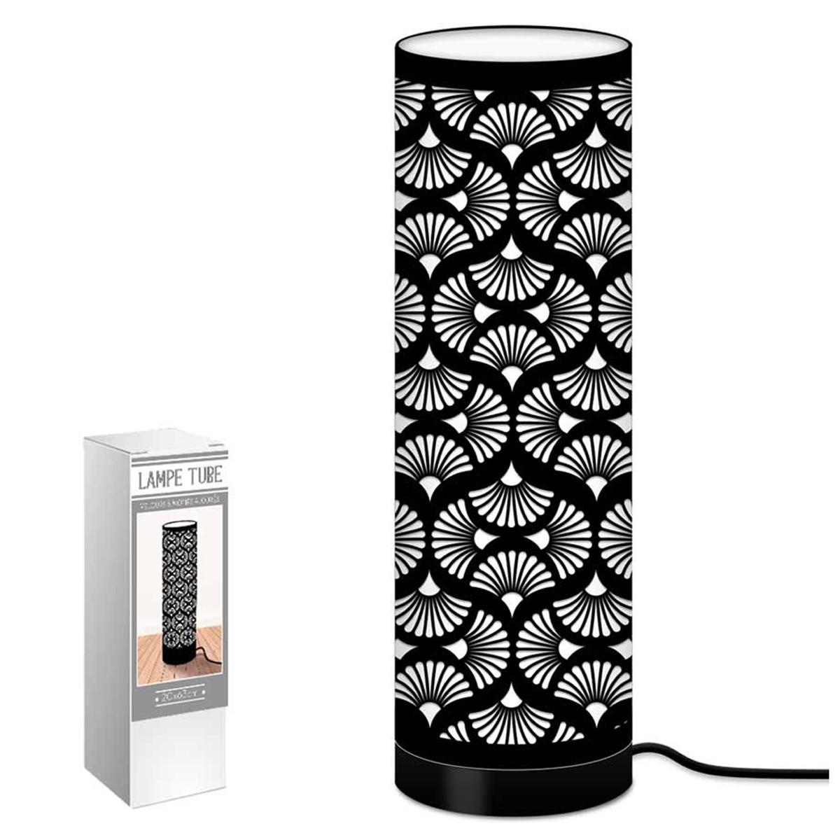 Lampe tube tissu \'Boho\' noir (ginkgo biloba) - 63x20 cm - [Q9074]