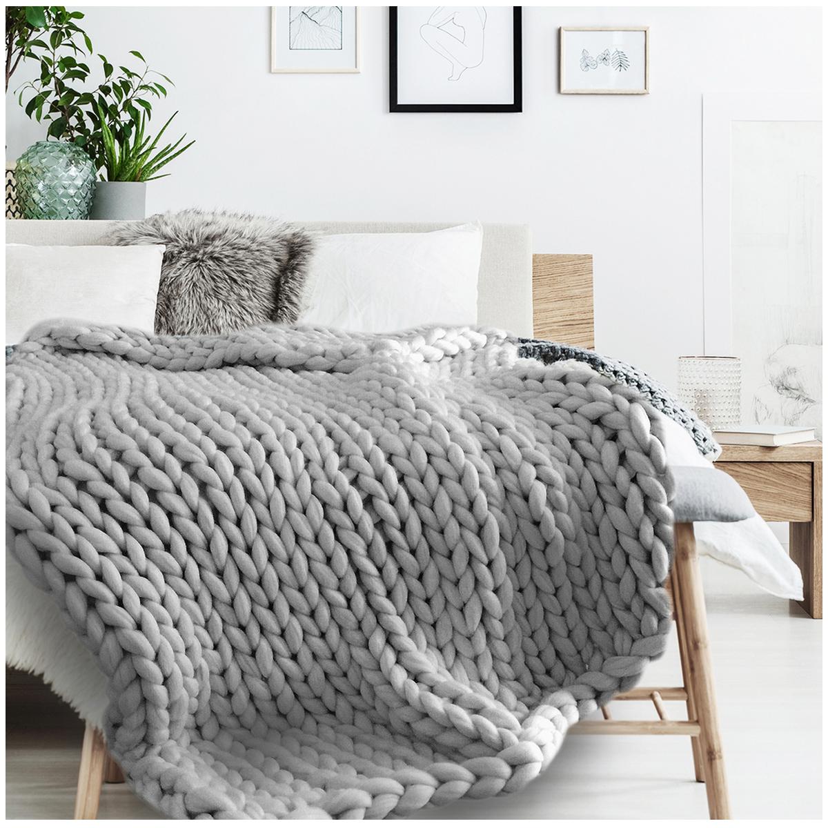 Plaid acrylique \'Chunky Knit\' gris (tricot) - 150x120 cm - [R0036]