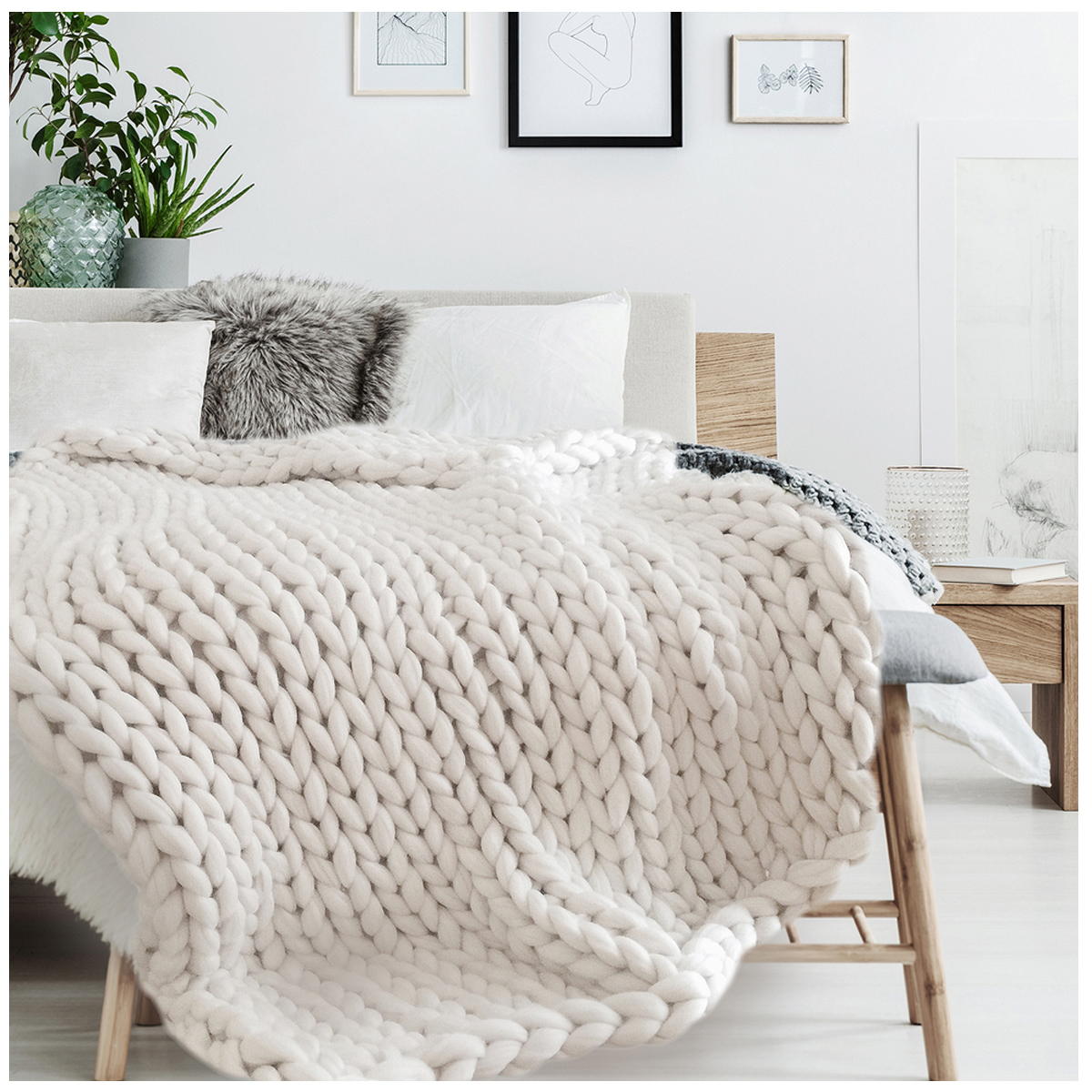 Plaid acrylique \'Chunky Knit\' écru (tricot) - 150x120 cm - [R0038]