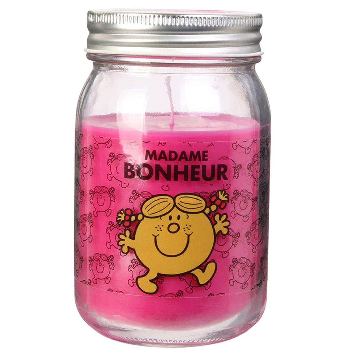 Bougie parfumée mason jar \'Monsieur Madame\' rose (Mme Bonheur) - 13x75 cm - [R0297]