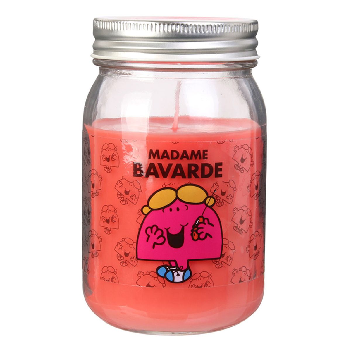 Bougie parfumée mason jar \'Monsieur Madame\' orange (Mme Bavarde) - 13x75 cm - [R0298]
