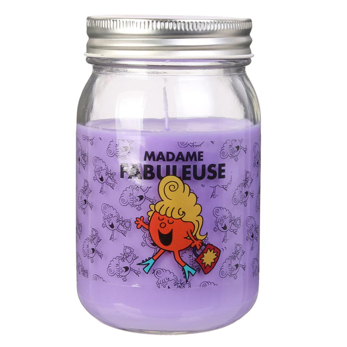 Bougie parfumée mason jar \'Monsieur Madame\' violet (Mme Fabuleuse) - 13x75 cm - [R0299]