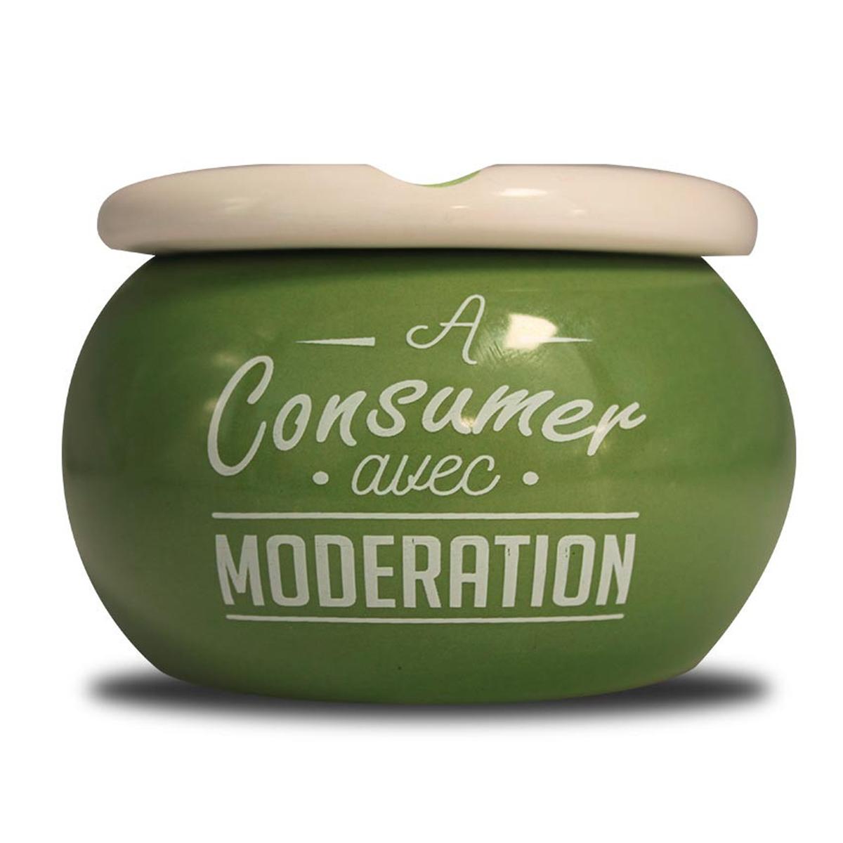 Cendrier marocain céramique \'Messages\' vert (A consommer avec modération) - 9x6 cm - [A0564]