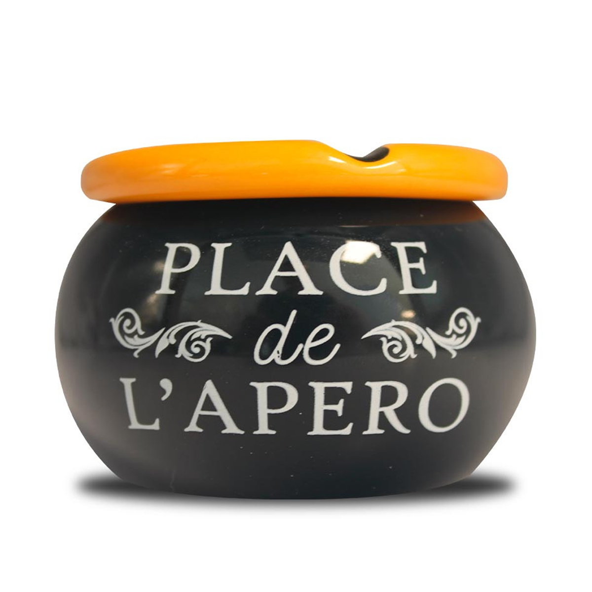 Cendrier marocain céramique \'Messages\' noir (Place de l\'apéro) - 9x6 cm - [A0565]