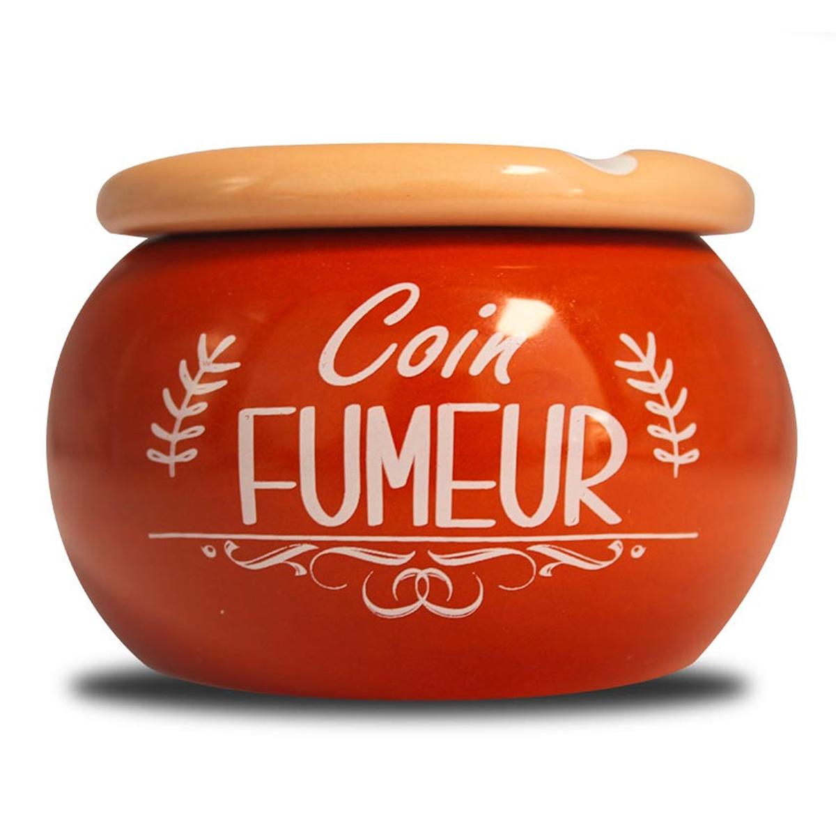 Cendrier marocain céramique \'Messages\' corail (Coin Fumeur) - 9x6 cm - [A0566]