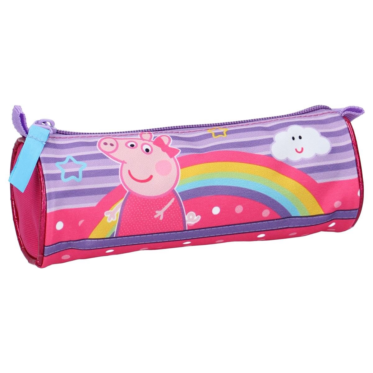 Trousse tube \'Peppa Pig\' violet rose - 20x7 cm - [A0584]