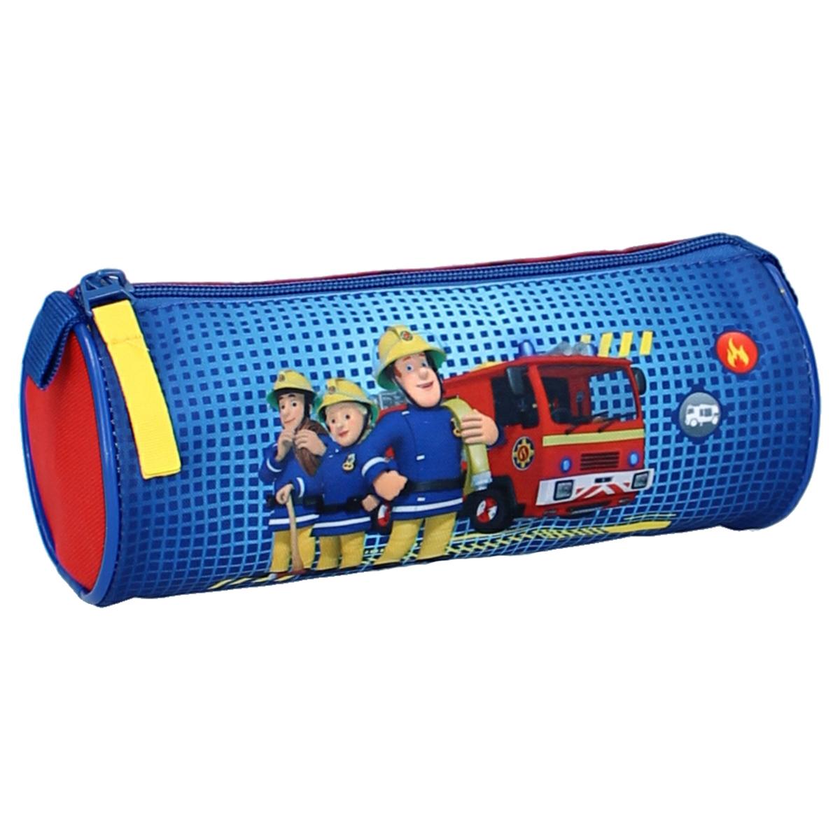 Trousse tube \'Sam le pompier\' bleu rouge - 20x9 cm - [A0585]