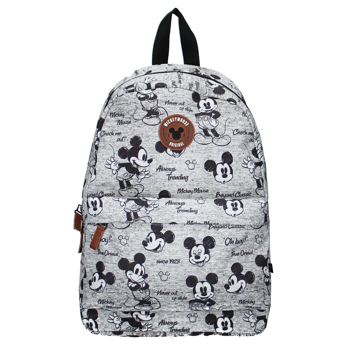 Sac à dos créateur \'Mickey\' gris - 35x26x11 cm - [A0589]