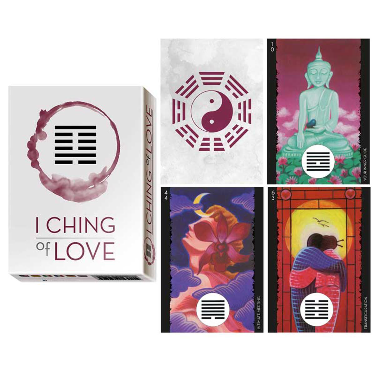 Jeu de cartes d\'inspiration \'I Ching of Love\' blanc (oracles) - 135x10x3 cm - [A0205]