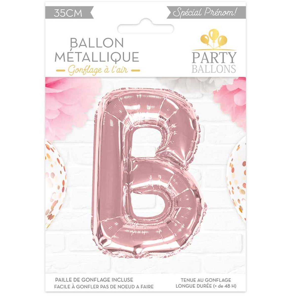 Ballon métallique \'Lettre B\' rosé - 35 cm - [A0432]