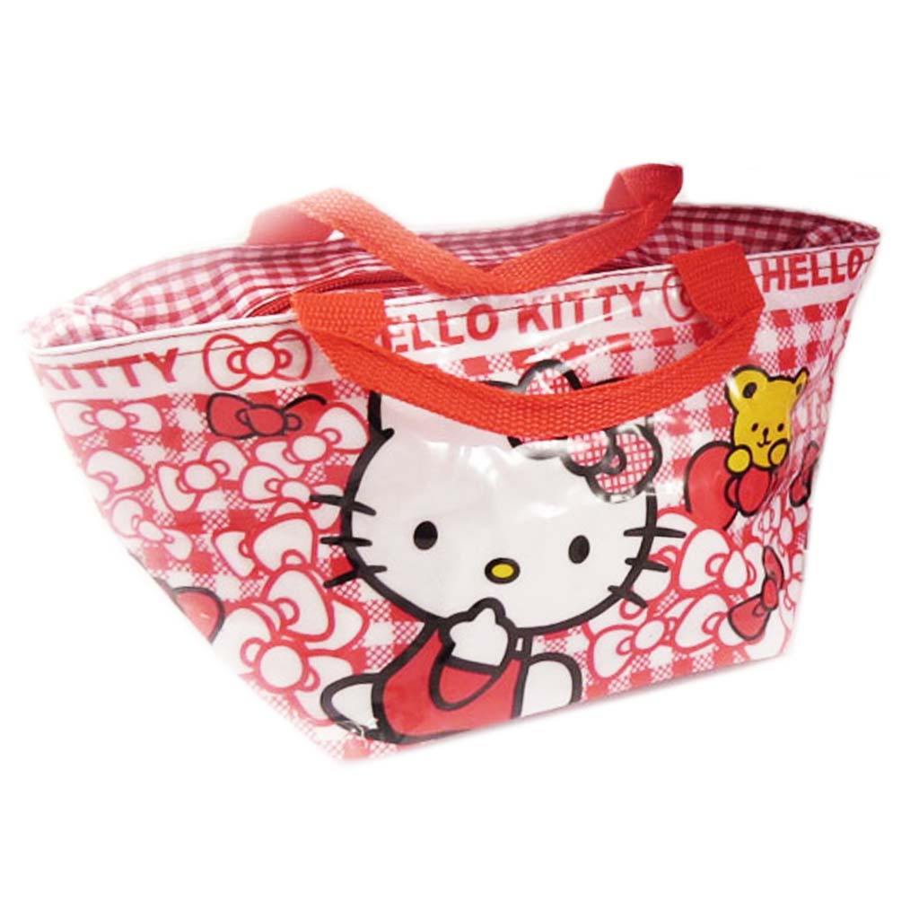 Sac shopping \'Hello Kitty\' rouge blanc - 30x15x14 cm - [A0506]