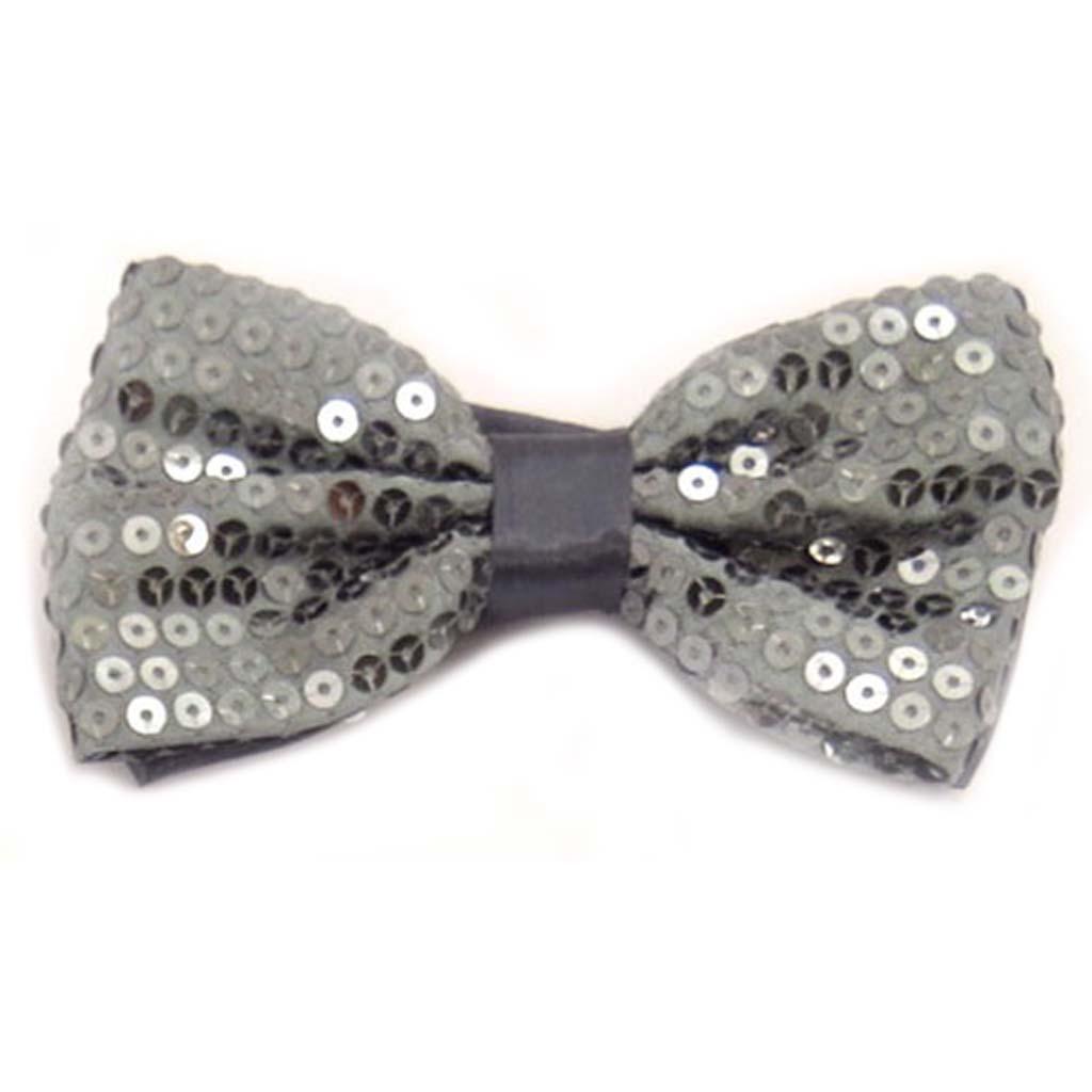 Noeud papillon \'Disco\' gris - 12x55 cm - [A0511]