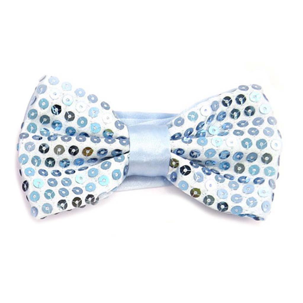 Noeud papillon \'Disco\' bleu ciel - 12x55 cm - [A0514]